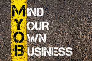 39156843 - business acronym myob as mind your own business. yellow paint line on the road against asphalt background. conceptual image